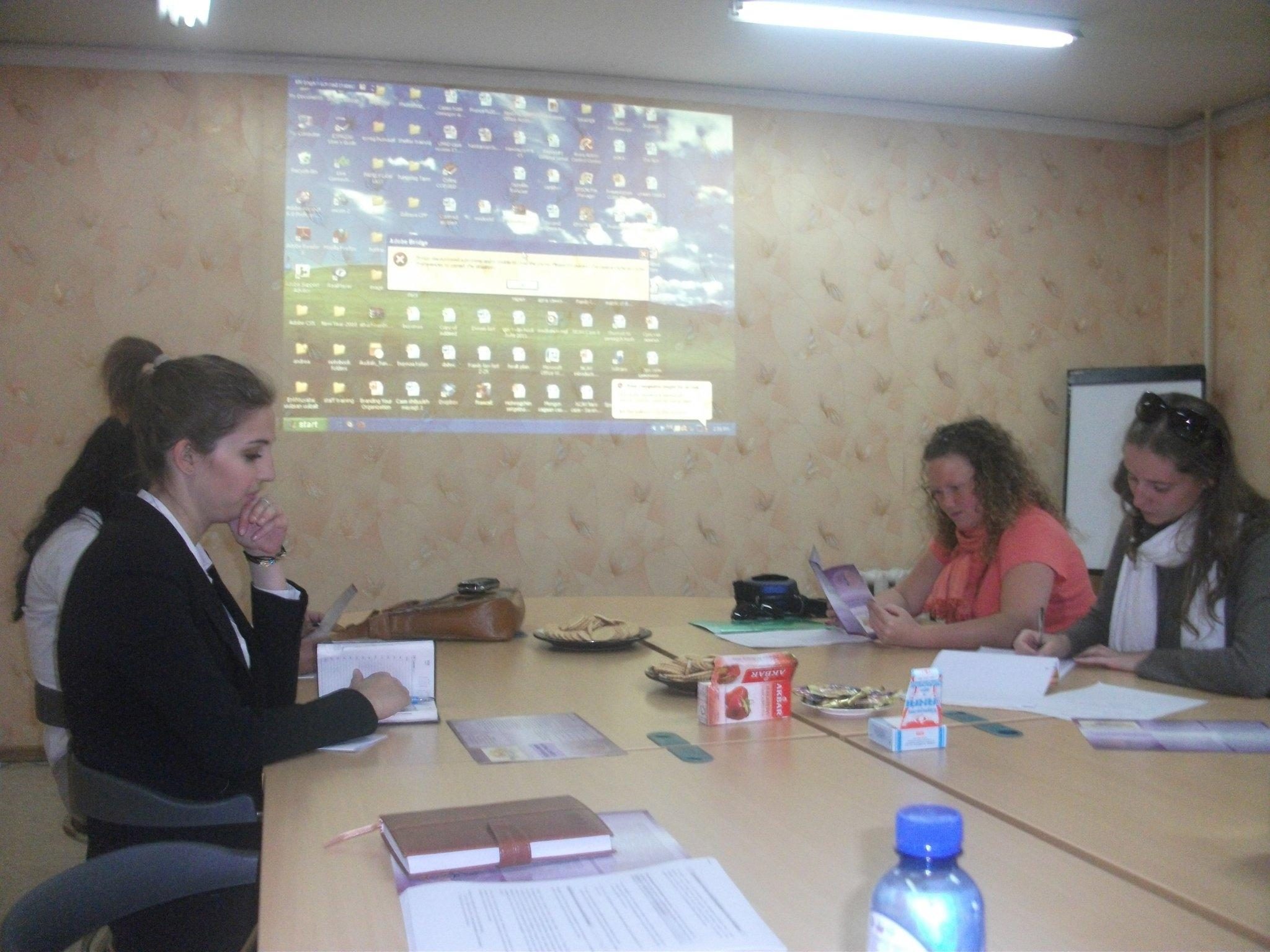 A local NGO in Ulaanbaatar runs a workshop for students doing Human Rights internships in Mongolia.